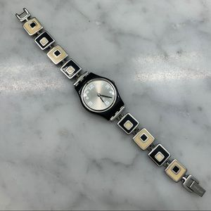 Black and white, chessboard Swatch watch